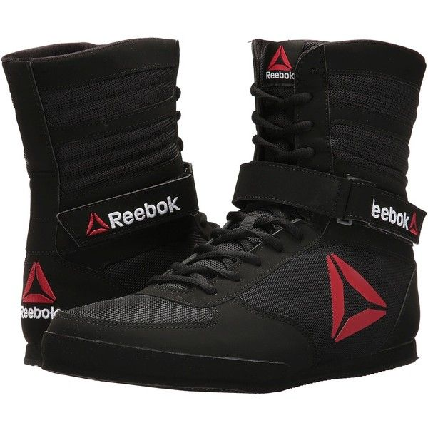 Reebok Boxing Boot (Black/Black/White) Men's Shoes (293.030 COP) ❤ liked on Polyvore featuring men's fashion, men's shoes, men's boots, mens black lace up boots, mens black shoes, mens hi top shoes, reebok mens shoes and mens tall boots
