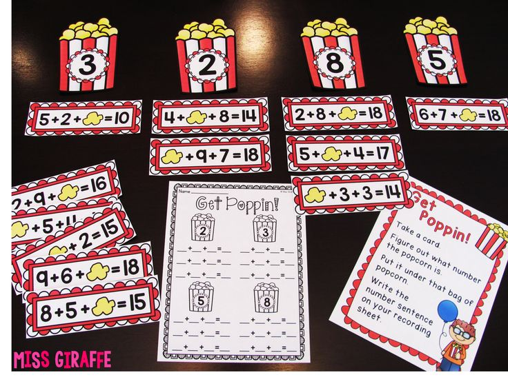 Adding 3 Numbers Missing Addends Center where students figure out what number the piece of popcorn is and put it in the right carton! Love this!