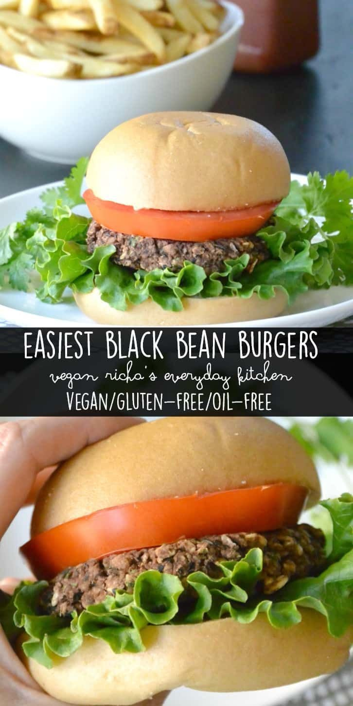 Easiest Black Bean Burgers are from the fabulous cookbook Vegan Richa's Everyday Kitchen. They are vegan, gluten-free, and oil-free. #vegan #glutenfree #oilfree #blackbeanburgers #veganricha