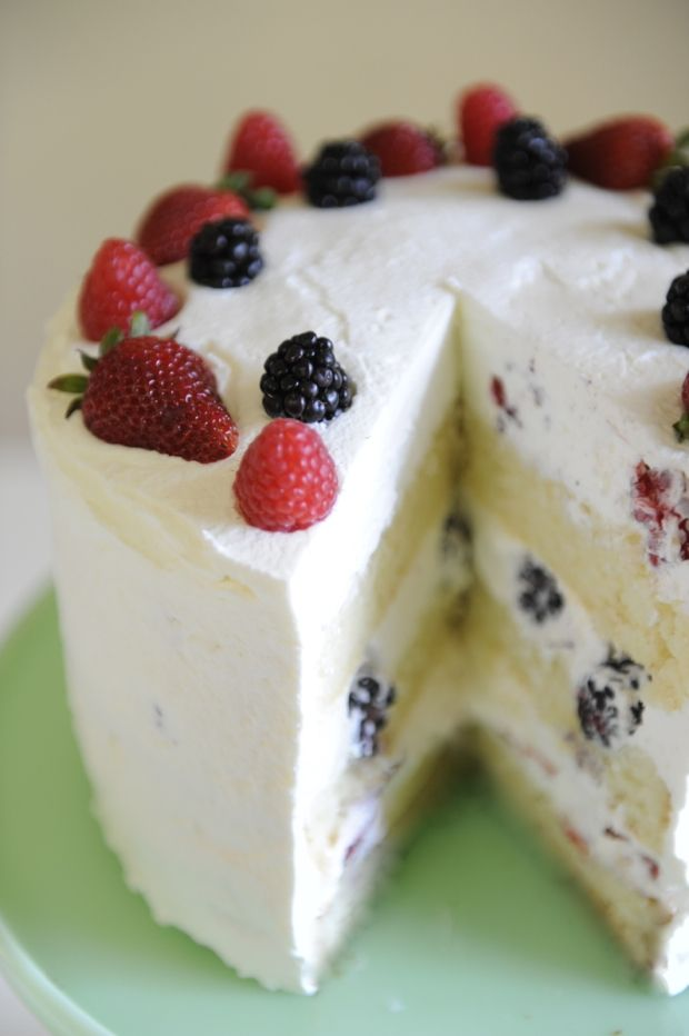 Triple Berry Cake with homemade whipped cream frosting *click here for recipe below photo inside | Cupcakes & Cashmere
