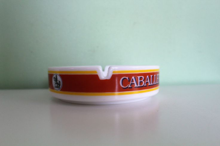 Vintage Caballero Cigarettes Ashtray, French Porcelain Ashtray, Collectible Home Decor by Grandchildattic on Etsy