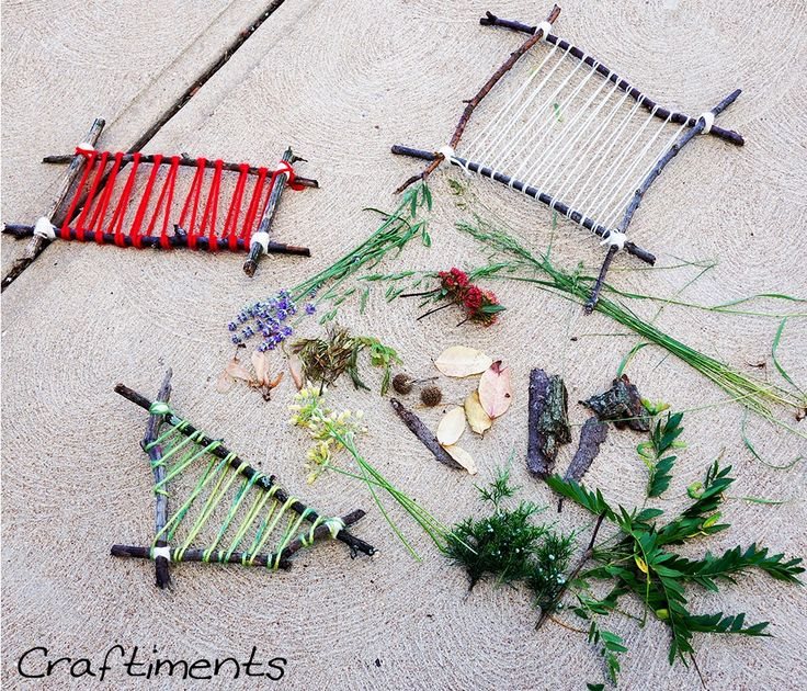 """Weaving with treasures collected on a nature walk ("""",)"""