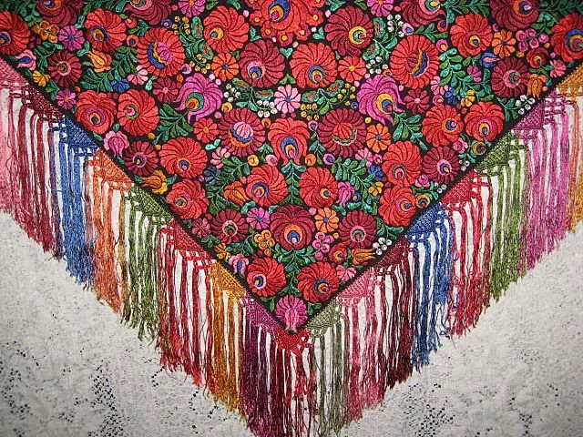 Vintage Hungarian Matyo Hand Embroidered Tablecloth, Shawl with Hand Crochet, Knotted Fringe