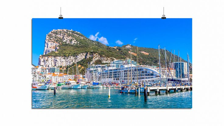 "GIBRALTAR CANVAS PRINTS ""A wonderful dreamy canvas image featuring the glorious floating five star Hotel Sunborn, Marina Bay and Rock of Gibraltar by Gibraltar Canvas Prints"". Photo © Simon Newbound. Buy Online https://www.gibraltarcanvasprints.com/product/marina-bay-and-rock-of-gibraltar-by-gibraltar-canvas-prints/"