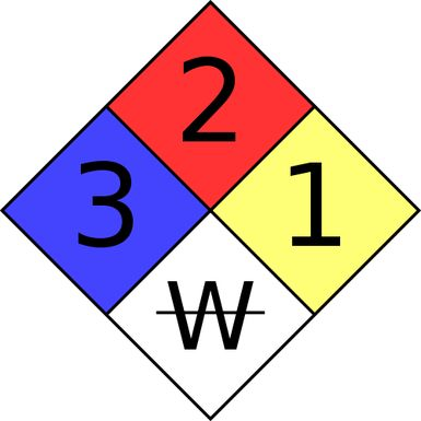 What Is NFPA 704 or the Fire Diamond?: This is an example of a NFPA 704 warning sign. The four colored quadrants of the sign indicate the types of hazards presented by a material. This is the NFPA 704 for sodium borohydride.