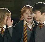 On m'explique pourquoi Ron fait il cette tête et se geste Hermione se recoiffe la franche mais elle n'a rien changé et harry ? je crois qu'il a aperçu la caméra