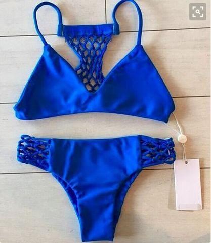 Blue Swimsuit Swimwear Bikini Set