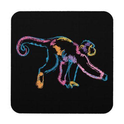 Rainbow Monkey Drink Coaster - animal gift ideas animals and pets diy customize