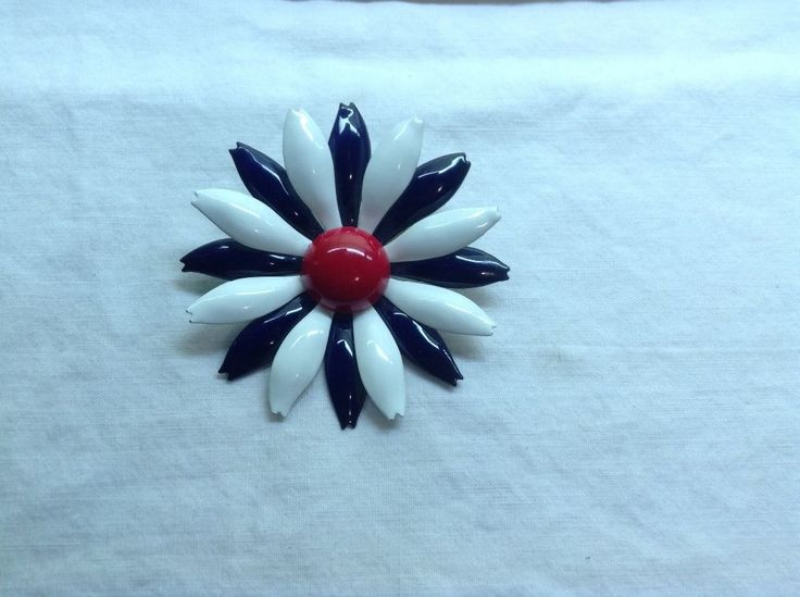 Vintage Flower Enamel Brooch, Wedding Bouquet, Large, 3 , Blue/Red/White,As New!