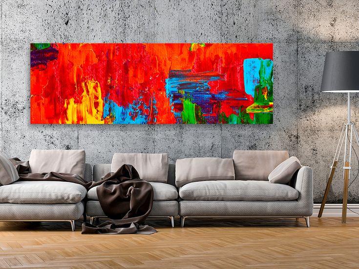 A może dodać do salonu bardziej nowoczesne dekoracje? Na przykład taki przepiękny obraz abstrakcyjny w dużym wymiarze w odcieniu ognistej czerwieni!