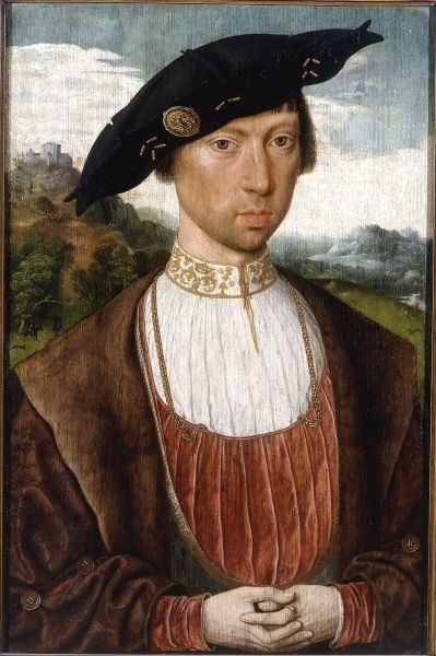 Jan Mostaert. Portrait de Joost van Bronkhorst. Huile sur bois. H. 43,5 ; l. 28,7 cm