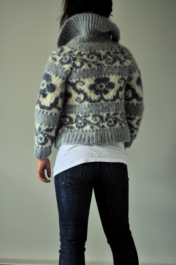 Realize this looks like its been shrunk in the wash, however love the floral motif on Cowichan sweater from Cowichan Sweater by shanjessmac on Etsy