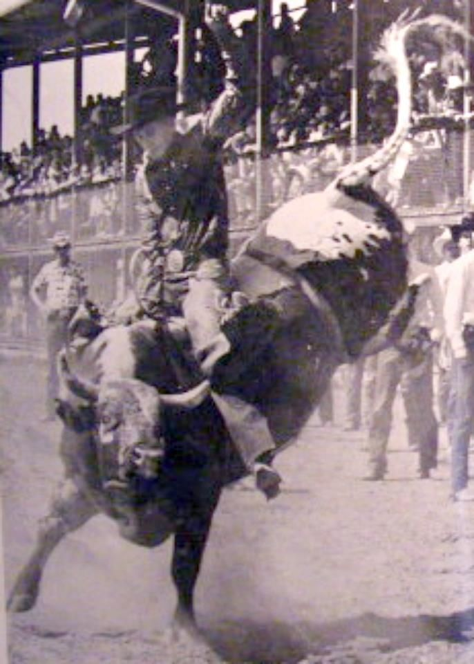 CHASING HIS TAIL. Jim Shoulders competes in the Bull ...