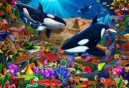Wondrous Ocean Kid's Jigsaw Puzzle 100 Piece - Putting together a jigsaw puzzle is an activity that is both fun and educational for kids. All of our signature jigsaw puzzles are made in the United States with recycled materials. Fully interlocking and randomly shaped pieces make for a pleasant puzzle building experience. Each jigsaw puzzle is...