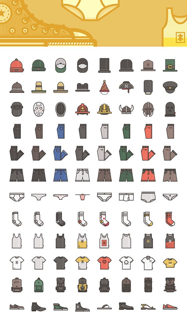 Clothes and Accessories Icons – Vector Illustrations (AI, EPS, SVG, PNG)