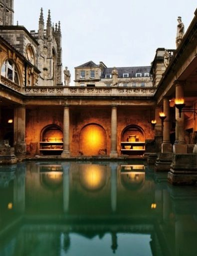 The Great Bath, built by the Romans on the site of present-day Bath, is fed by a thermal spring that was sacred to the Celts.