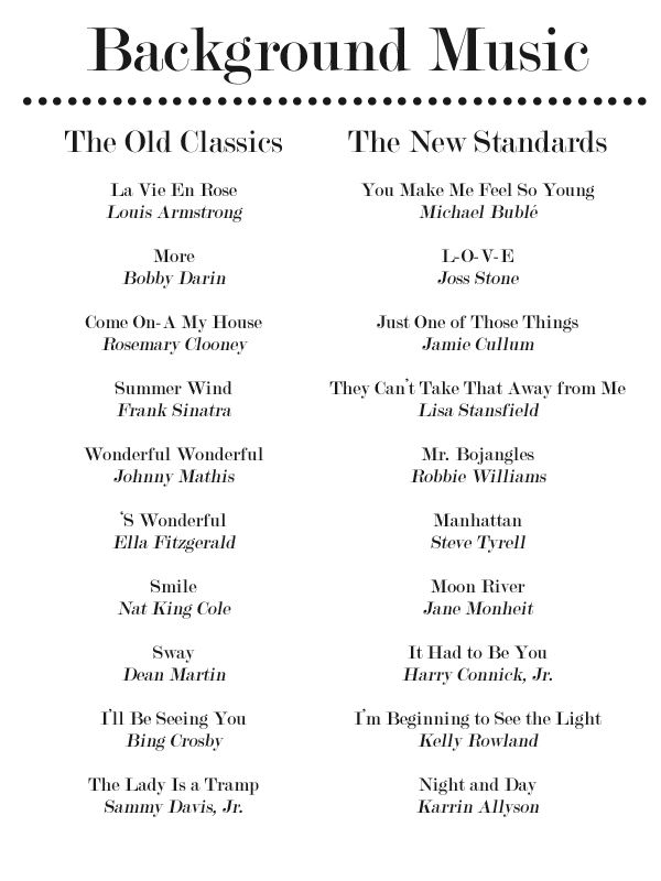Best 25 fun wedding songs ideas on pinterest wedding playlist 20 more jazz standards for your dinner party playlist junglespirit Gallery