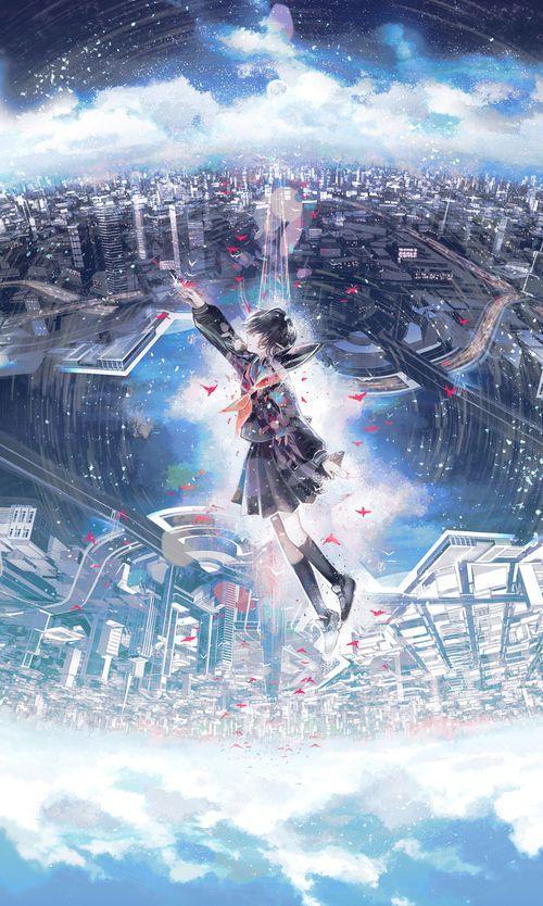 anime girl, city, and day image