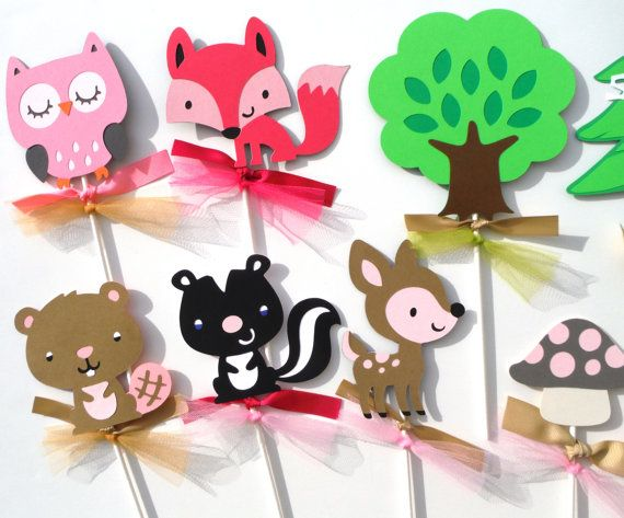 Woodland Girl Forest Animal Themed Party Centerpiece Sticks