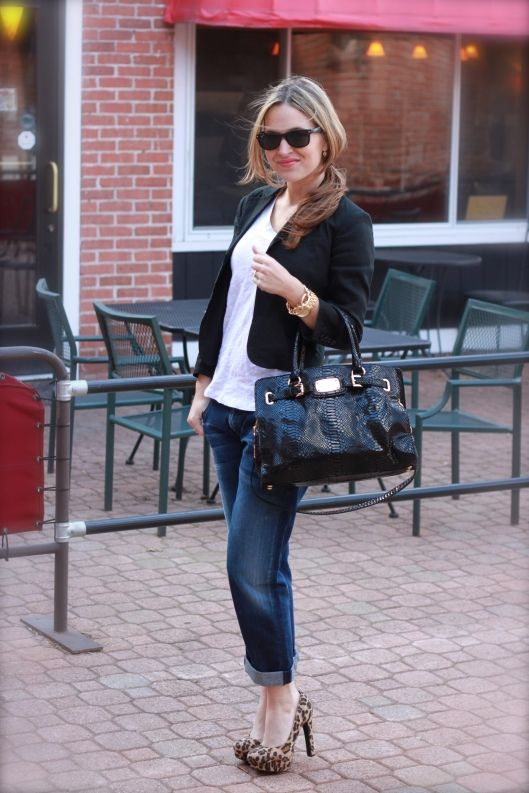 boyfriend jeans, michael kors bag, blazer, leopard shoes