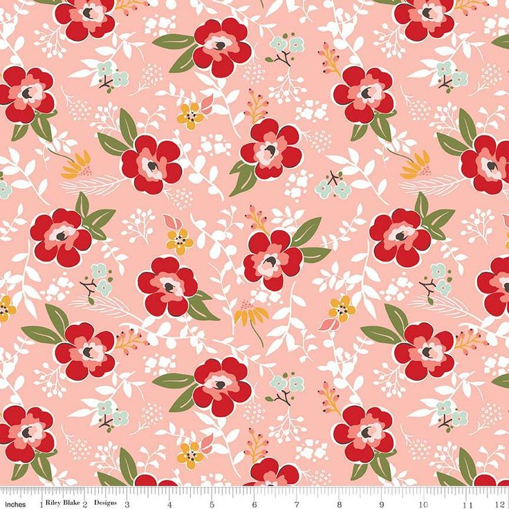 Sweet Prairie Main Floral Coral fabric - Riley Blake - Sedef Imer - 100% cotton - by the half yard - modern, floral, geometric by SewcialStitch1998 on Etsy https://www.etsy.com/listing/538188254/sweet-prairie-main-floral-coral-fabric