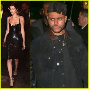 Bella Hadid Sports Sexy Latex Dress for Met Gala 2016 After Party with boyfriend The Weeknd