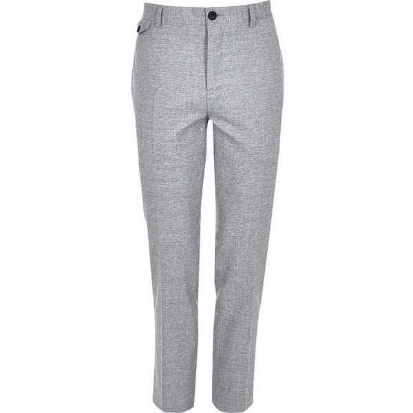 River Island Grey crosshatch skinny fit suit trousers (435 NOK) ❤ liked on Polyvore featuring men's fashion, men's clothing, men's pants, men's dress pants, suits, tall mens dress pants, mens skinny fit dress pants, mens gray dress pants, mens skinny suit pants and mens skinny dress pants
