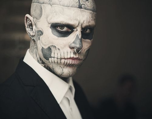 skull face tattoo guy, rick genest | black and white | pinterest, Skeleton