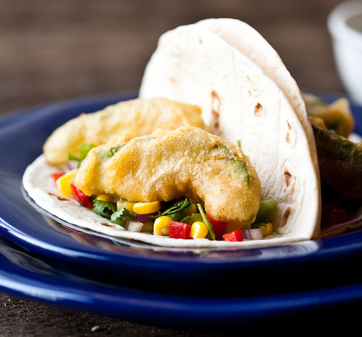 Beer Battered Fried Avocado Tacos (I may have to get a deep fat fryer now, just for this!)