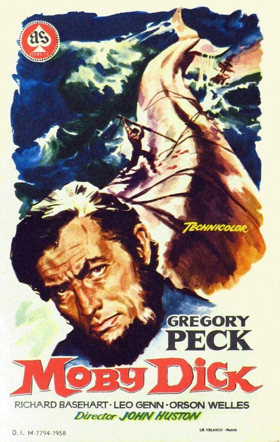 Moby Dick (1956) Nueva adaptación de la novela homónima de Herman Melville. Ahab (Gregory Peck), el capitán del Pequod, un barco ballenero, vive obsesionado por dar caza a Moby Dick, la gran ballena blanca que le arrancó una pierna y lo llenó de odio y sed de venganza. Por esta razón, consagra su vida a navegar incansablemente por los siete mares con el fin de capturar a su presa.