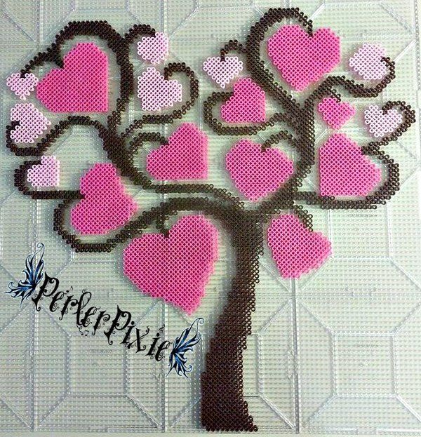 Tree of Hearts perler beads by PerlerPixie I would do a pretty blue for the hearts so it matched my living room