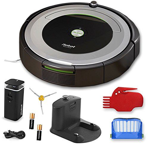iRobot Roomba 690 Wi-Fi Connected Robotic Vacuum Cleaner + 1 Dual Mode Virtual Wall Barrier (With Batteries) + Extra Filter + More