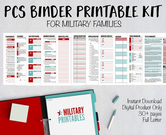 Military families, are you ready to build your own PCS binder? Here is a list of documents that are ready to print and include in your binder.