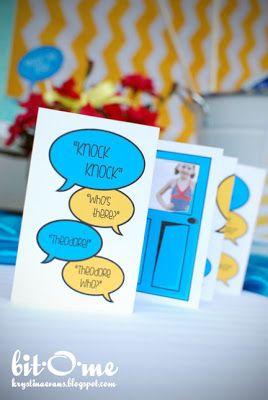 Knock, knock theme birthday party invitation design.