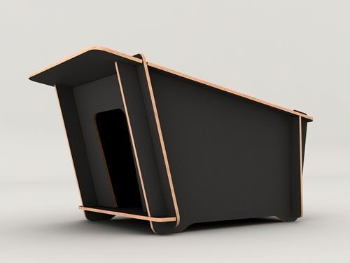 Fuora Modern Dog House: It's also available in white, but Miles prefers it in black. by angie