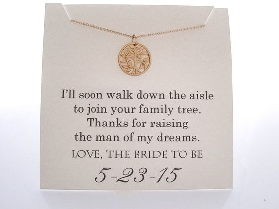 Mother of the Groom Necklace ••••••••••••••••••••••••••••••••••••••••••• •Charm Type/Size: small 14mm (about 1/2) *shiny finish, 14k gold plated tree charm, *The charm is shown compared to a dime in the fourth photo. •Customization: The card comes customized with date of your wedding and the following quote. If no date is listed, the card will just be sent with the quote: Ill soon walk down the aisle To join your family tree. Thanks for raising The man of my dreams. LOVE, THE BRIDE TO BE…