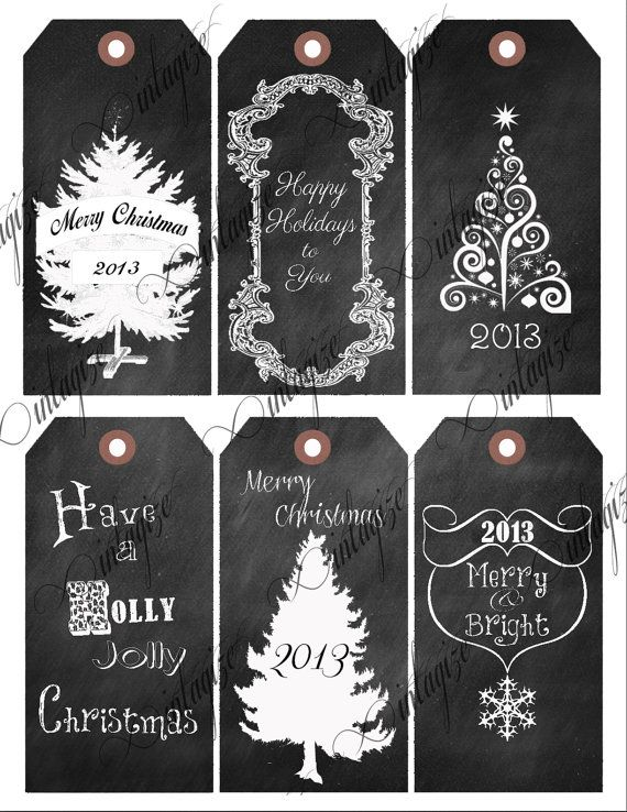Printable Chalkboard Christmas 2013 Gift Tags- Original