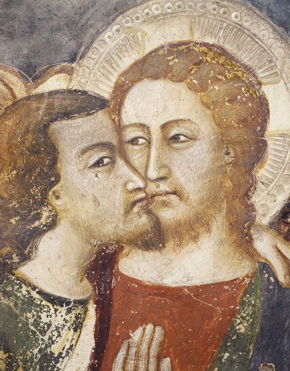 A 14th-century fresco by Trecentesco of Judas's kiss at Sacro Speco in Subiaco, Italy