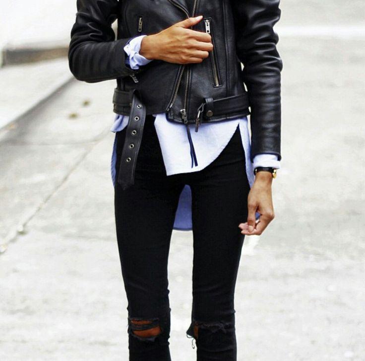White shirt black leather