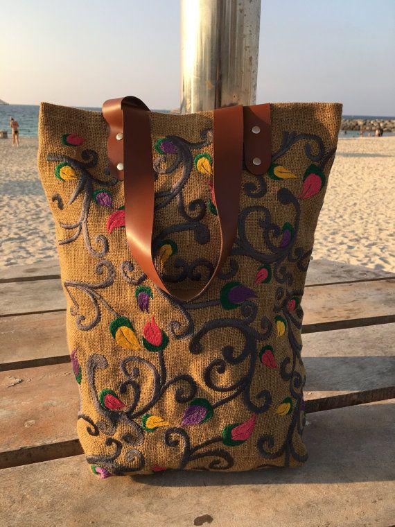 Burlap Beach Bags burlap tote bags jute by TheWhitePetalsCloset