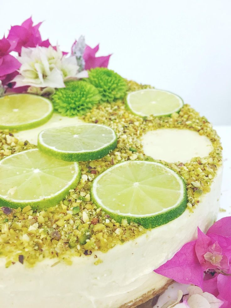 Lime & pistachio baked cheesecake