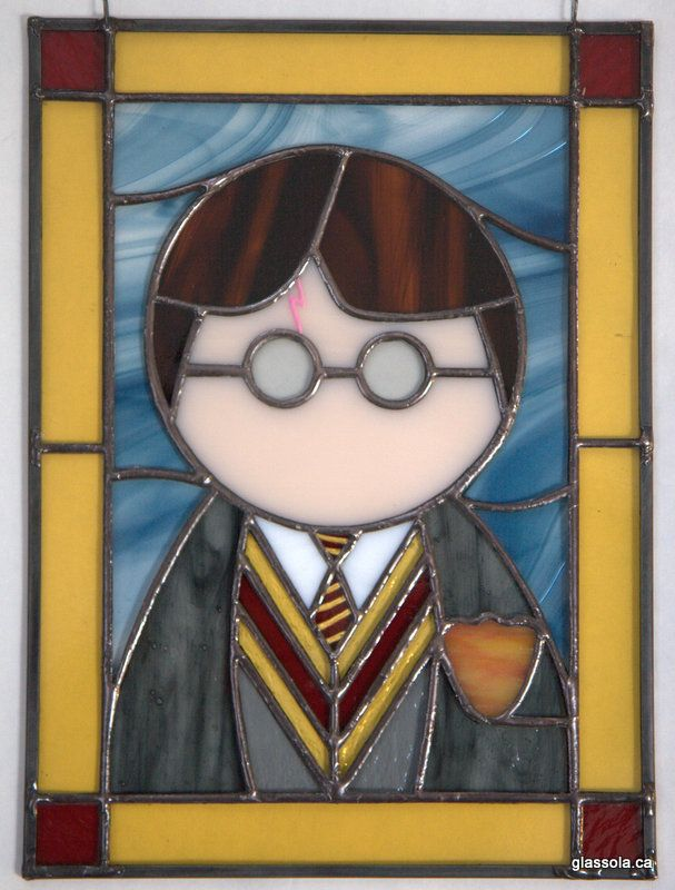 """Harry Potter Stained Glass Panel 8""""x11"""" glass paint used for tie and scar"""