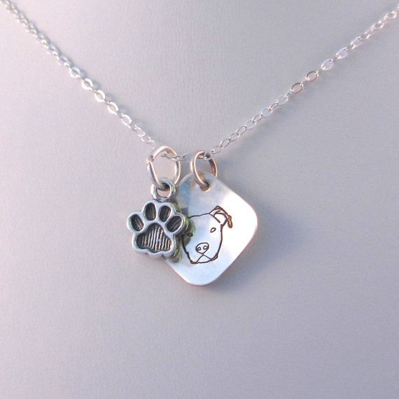 Pit Bull Terrier Necklace, Sterling Silver Dog Paw Charm Necklace, Hand Stamped Pitbull Necklace