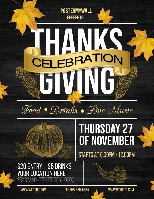 Thanksgiving Flyer In 2020 Thanksgiving Celebration Holiday Flyer Thanksgiving Parties