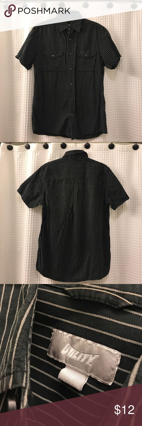 Utility Men's Black Pin-Stripped Collared Shirt -S Utility Men's Black Pin-Stripped Collared Shirt - Size: S Utility Shirts Polos