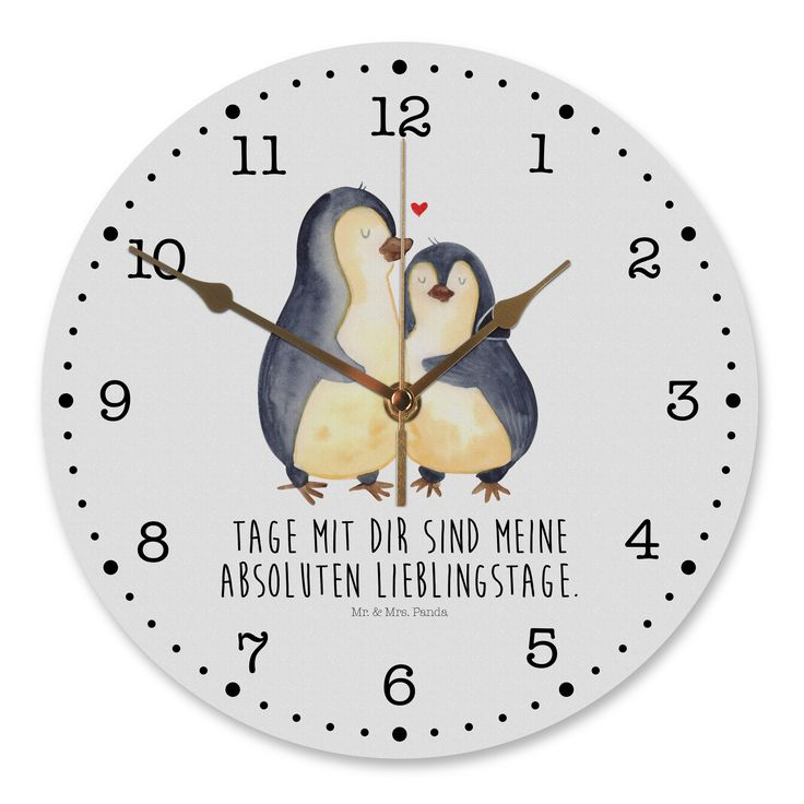 30 cm Wanduhr Pinguin umarmend aus MDF  Weiß - Das Original von Mr. & Mrs. Panda.  Diese wunderschöne Uhr von  Mr. & Mrs. Panda wird liebeveoll in unserem Hause bedruckt und an sie versendet. Sie ist das perfekte Geschenk für kleine und große Kinder, Weltenbummler und Naturliebhaber. Sie hat eine Grösse von 30 cm und ein absolut LAUTLOSES Uhrwerk.    Über unser Motiv Pinguin umarmend  Unsere Pinguin-Kollektion ist unser kleines Herzstück. Jeder liebt diese watschelnden Freunde. Vor allem…