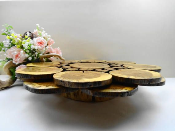 Wood Cake Stand, Wooden Cake Stand, Rustic Wedding Cake Stand, Wooden Stand, Wood Cupcake Stand. Rustic Wood Cake Stand , Wood Slices Centerpiece is made of oak tree slices and a log, finished by satin varnish to protect the wood and to make it last.. It can be used as a wedding cake
