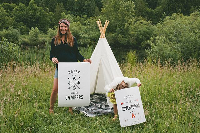 Happy Little Campers & Let's Be Adventurers free printables (high res for huge printing)