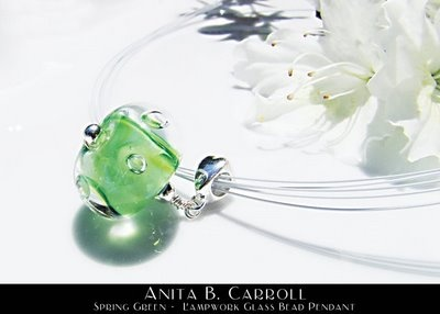 Spring Green pendant.    Glass works by #Anita B. #Carroll  ♥ Facebook: Alvelys ♥ In store: #The #Garden #Party, Milford NH - US ♥