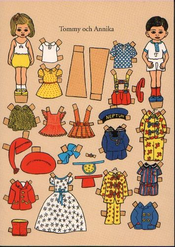 Tommy and Annika Paper Dolls wallpaper in The Pippi Longstocking Club